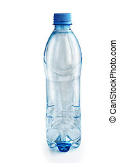 Plastic bottle with water on a white background.