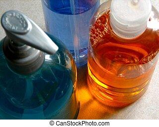 Plastic Bottles 01 - Coloured liquids in plastic containers.