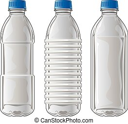 Illustration of three types of clear plastic bottles used for water and other beverages.