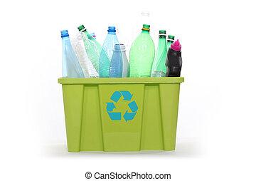 Plastic bottles in a recycling bin