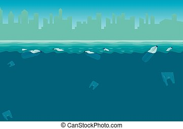 Plastic bottles in the sea. Pollution Of the world ocean by plastic waste.