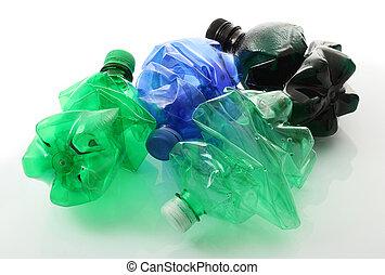 plastic bottles in white background