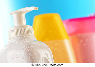 Composition with plastic bottles of body care and beauty products