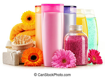 Plastic bottles of body care and beauty products - ...