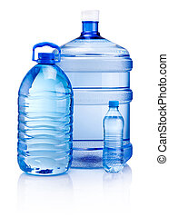 Plastic bottles of drink water isolated on white background