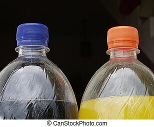 plastic bottles with drink