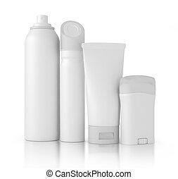 plastic bottles with liq