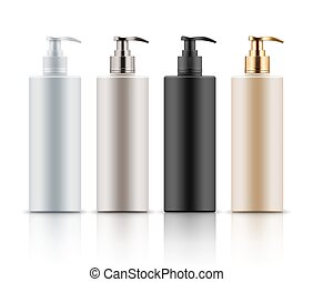 Plastic bottles with pump dispenser. - Empty and clean ...