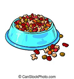 Plastic bowl filled with dry pelleted pet, cat, dog food -...