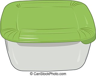 Plastic box for storage of products isolated vector...