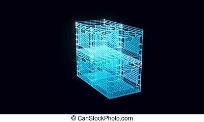 plastic box hologram Rotating . High quality 4k footage