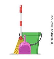 Plastic bucket, dustpan and broom.