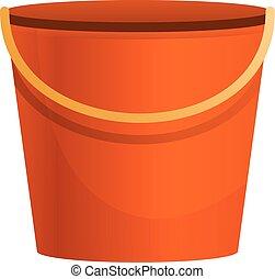 Plastic bucket icon, cartoon style