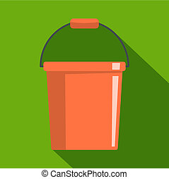 Plastic bucket icon, flat style