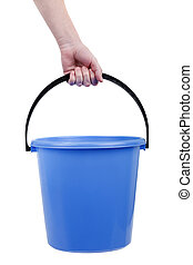 Human hand holding empty plastic bucket container