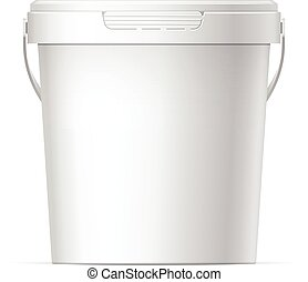 Plastic bucket - Small White plastic bucket with White lid. ...
