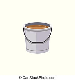 Plastic bucket with dirty water flat cartoon vector illustration icon isolated.