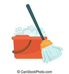 Plastic bucket with handle full of soap and modern mop