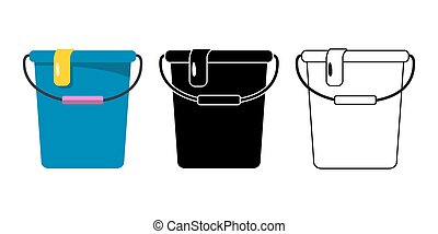 Plastic Buckets set for cleaning on white background. Stock Vector illustration.