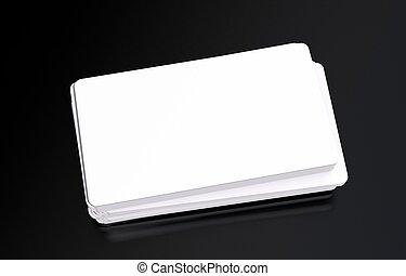 Plastic Business Cards Mockup on Black Glassy Background....