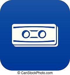 Plastic button icon blue vector