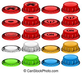 Plastic Button Press Icon Set