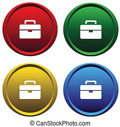 Plastic buttons with a portfolio