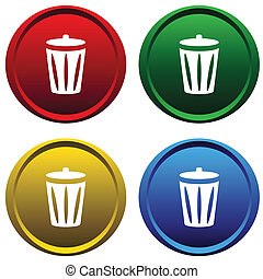 Four multi-colored, plastic buttons with recycle bin