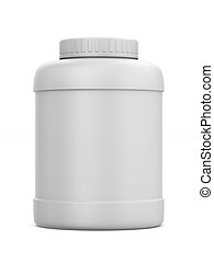 Plastic can on white background. Isolated 3D illustration