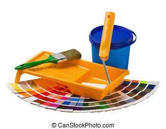 plastic can with paint, roller, brushes and bright
