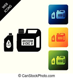 Plastic canister for motor machine oil icon isolated on white background. Oil gallon. Oil change service and repair. Engine oil sign. Set icons colorful square buttons. Vector Illustration