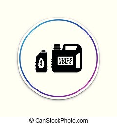 Plastic canister for motor machine oil icon isolated on white background. Oil gallon. Oil change service and repair. Engine oil sign. Circle white button. Vector Illustration