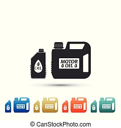 Plastic canister for motor machine oil icon isolated on white background. Oil gallon. Oil change service and repair. Engine oil sign. Set elements in colored icons. Flat design. Vector Illustration