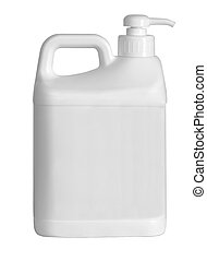 Plastic canister, on white background.
