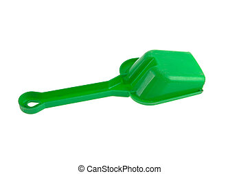 plastic children's spatula for playing in the sandbox isolated on white background