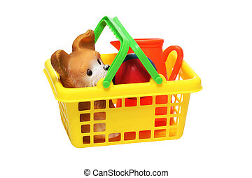 plastic children's toys in a basket