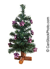 plastic christmas tree with purple stars