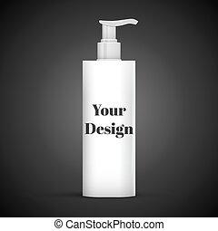 Plastic Clean White Bottle With Dispenser Pump. Shower Gel,...
