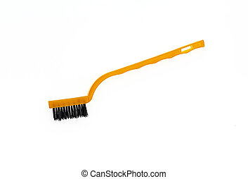 plastic cleaning brush on white background.
