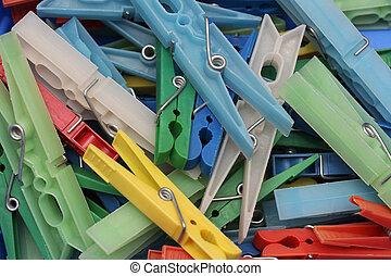 Plastic clips pile
