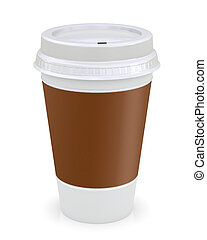Plastic coffee cup template over white background