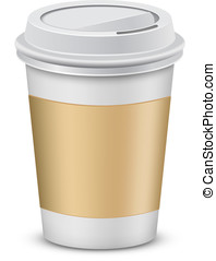 Plastic coffee cups with lid - Coffee to go. Plastic coffee...