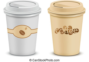 Plastic coffee cups with lid. Vector illustration