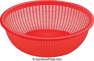 Plastic colander for kitchen work with vegetables. Vector...