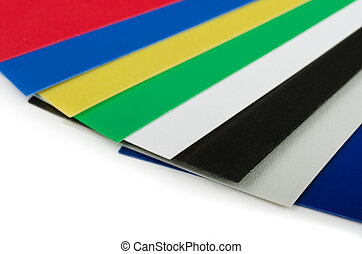 Close up of plastic color swatch fan on white