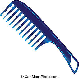 Plastic comb for women with large teeth. Vector...