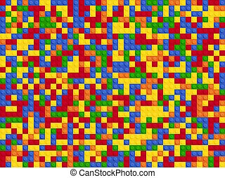 Plastic constructor seamless pattern. Color abstract background blocks plate flat design.