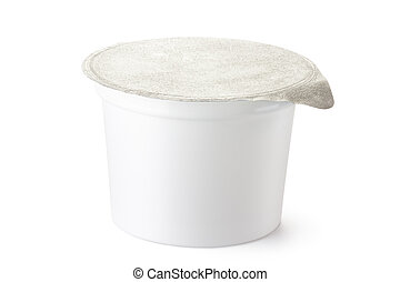 Plastic container for dairy foods with foil lid. Isolated on...