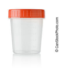 Plastic container for urine isolated on white