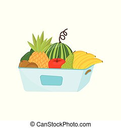 Plastic container full of ripe fruits, healthy lifestyle and diet concept vector Illustration on a white background